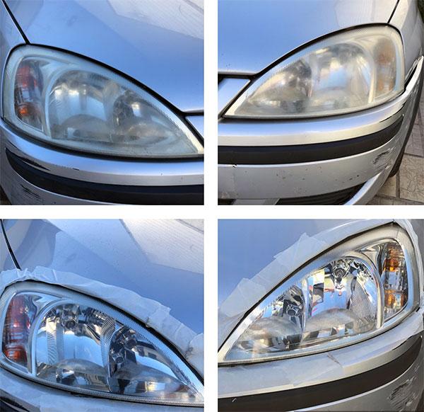 Etapes de la rénovation et nettoyage de phare automobile, avant et après.